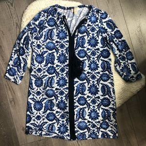 Michael Kors Long Sleeve Print Dress Tassels M